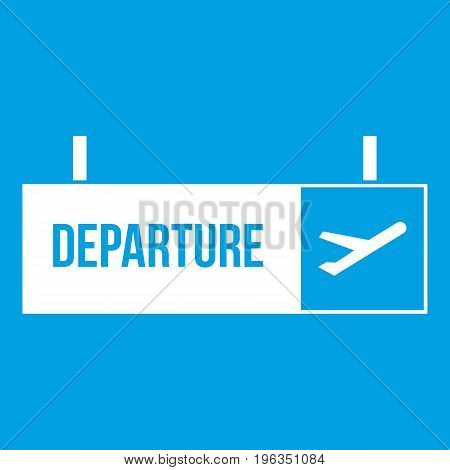 Airport departure sign icon white isolated on blue background vector illustration