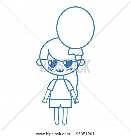 silhouette cute boy with heart balloons and hairstyle design vector illustration