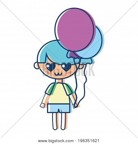 cute boy with balloons and hairstyle design vector illustration