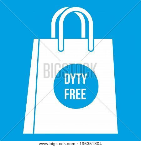 Duty free shopping bag icon white isolated on blue background vector illustration