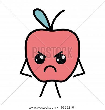 kawaii cute angry apple fruit vector illustration
