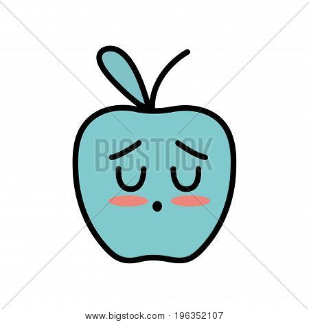 kawaii cute tender apple fruit vector illustration