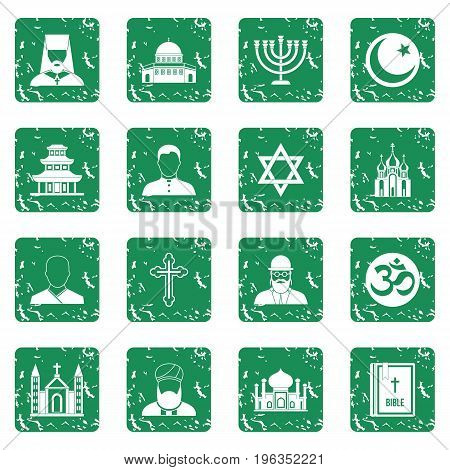Religious symbol icons set in grunge style green isolated vector illustration