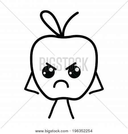 line kawaii cute angry apple fruit vector illustration