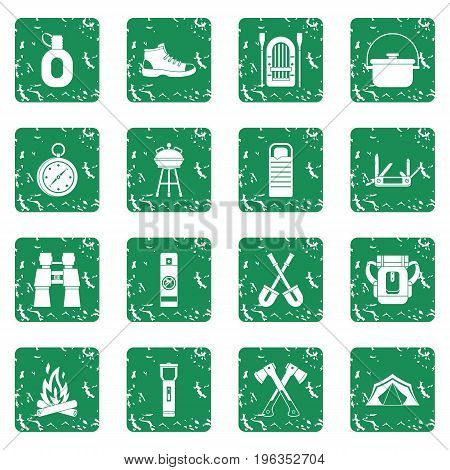 Recreation tourism icons set in grunge style green isolated vector illustration
