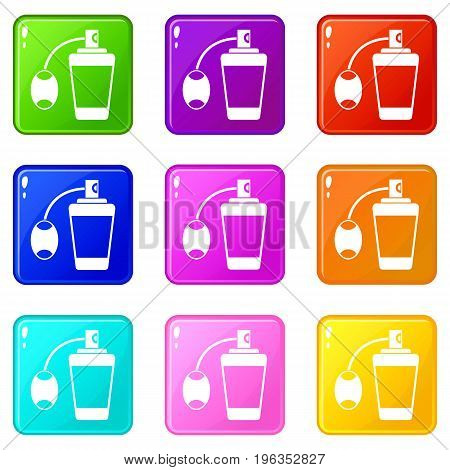 Retro perfume icons of 9 color set isolated vector illustration