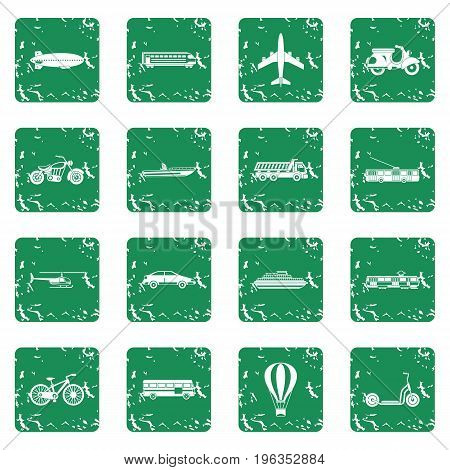 Transportation icons set in grunge style green isolated vector illustration