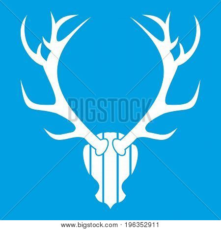 Deer antler icon white isolated on blue background vector illustration