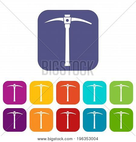 Pick icons set vector illustration in flat style in colors red, blue, green, and other