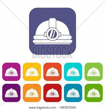 Helmet with light icons set vector illustration in flat style in colors red, blue, green, and other