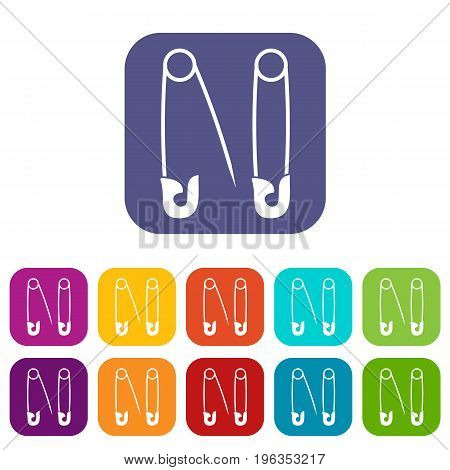 Pins icons set vector illustration in flat style in colors red, blue, green, and other