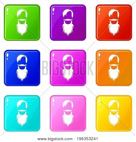 Male avatar with beard icons of 9 color set isolated vector illustration