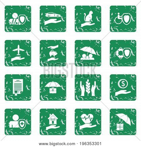 Insurance icons set in grunge style green isolated vector illustration