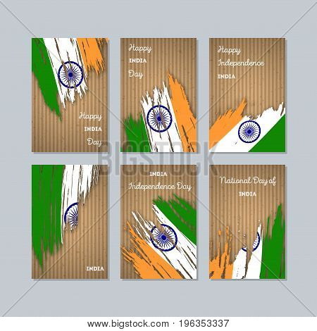 India Patriotic Cards For National Day. Expressive Brush Stroke In National Flag Colors On Kraft Pap
