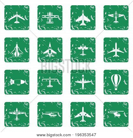 Aviation icons set in grunge style green isolated vector illustration
