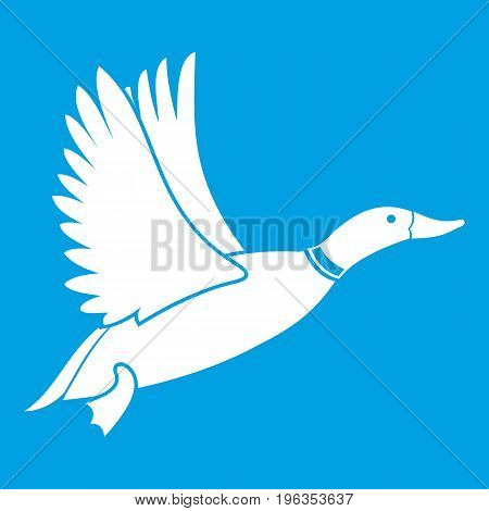 Duck icon white isolated on blue background vector illustration