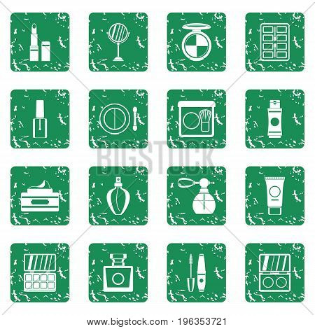 Cosmetics icons set in grunge style green isolated vector illustration