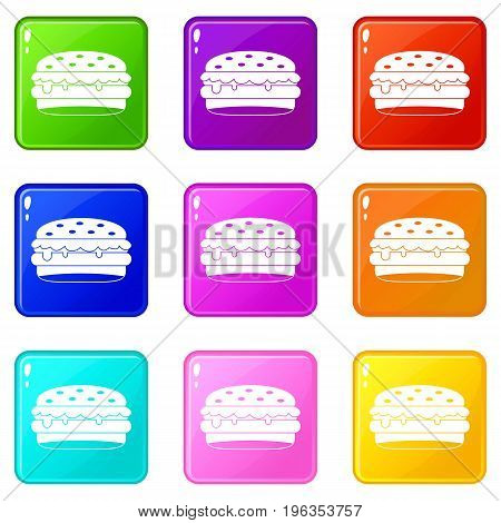 Burger icons of 9 color set isolated vector illustration
