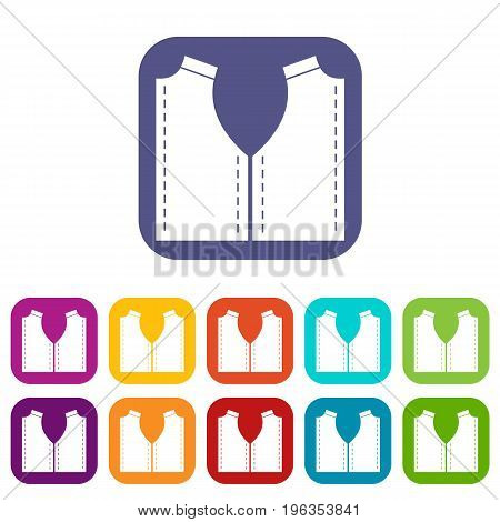 Pattern for sewing icons set vector illustration in flat style in colors red, blue, green, and other