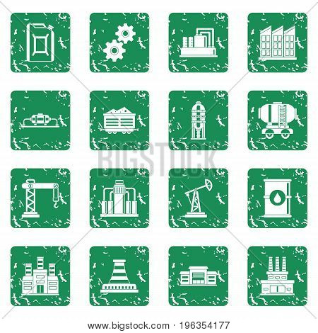 Industry icons set in grunge style green isolated vector illustration