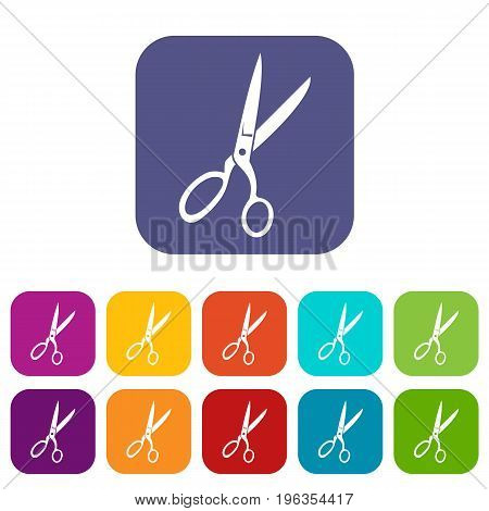 Sewing scissors icons set vector illustration in flat style in colors red, blue, green, and other