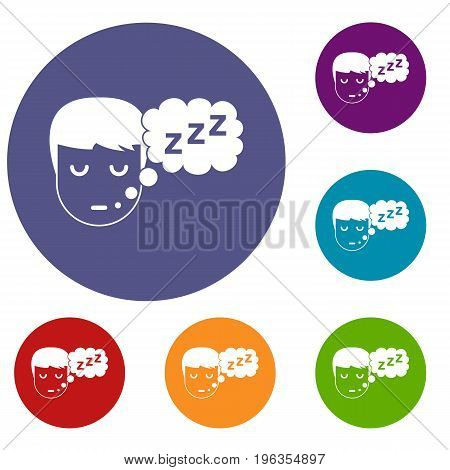 Boy head with speech bubble icons set in flat circle red, blue and green color for web