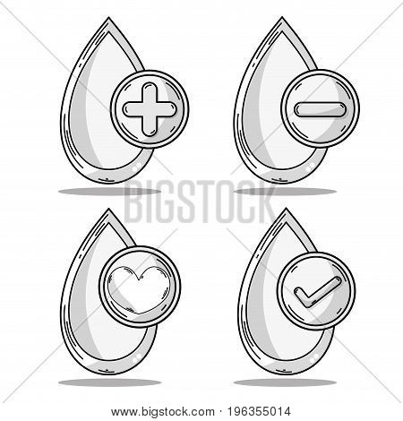 set drop blood donation symbol vector illustration