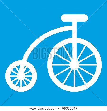 Children bicycle icon white isolated on blue background vector illustration