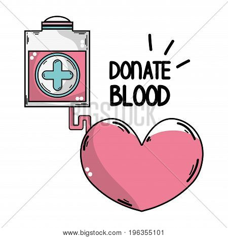 transfusion tool donation with heart symbol vector illustration