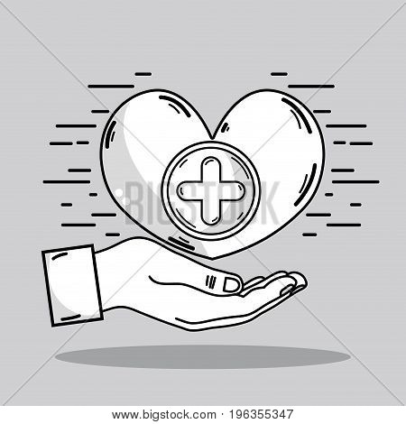 hand with heart and cross symbol icon vector illustration