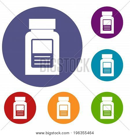 Medicine bottle icons set in flat circle red, blue and green color for web