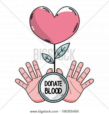 hands with heart plant to blood donation symbol vector illustration