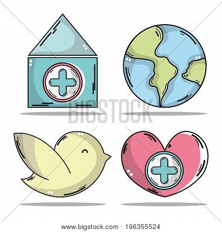 set blood donation with medical symbol vector illustration