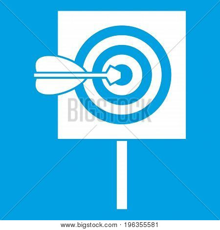 Arrow in the center of target icon white isolated on blue background vector illustration
