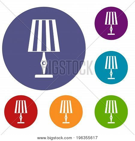 Table lamp icons set in flat circle red, blue and green color for web