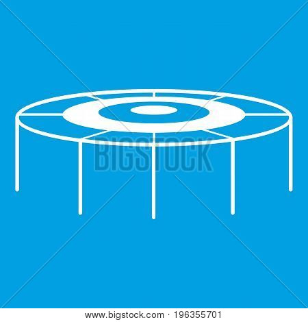 Trampoline icon white isolated on blue background vector illustration