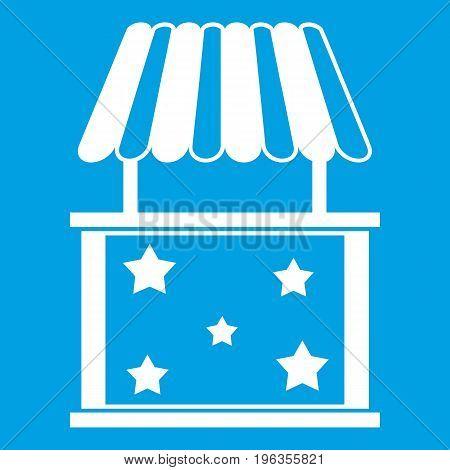 Kiosk icon white isolated on blue background vector illustration