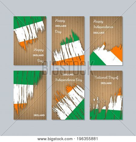 Ireland Patriotic Cards For National Day. Expressive Brush Stroke In National Flag Colors On Kraft P