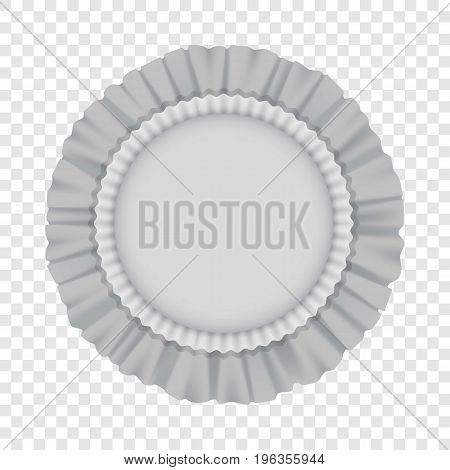 White round cushion with frills mockup. Realistic illustration of white round cushion with frills vector mockup for web