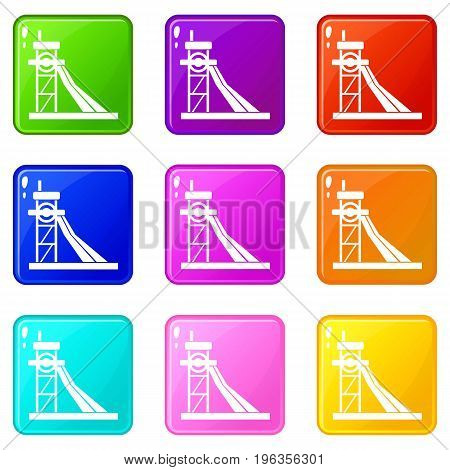 Equipment for washing rocks icons of 9 color set isolated vector illustration