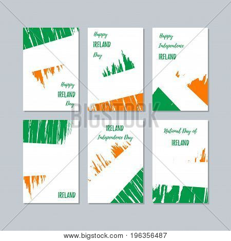 Ireland Patriotic Cards For National Day. Expressive Brush Stroke In National Flag Colors On White C