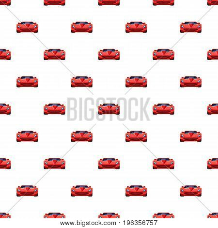 Red sport car pattern seamless repeat in cartoon style vector illustration