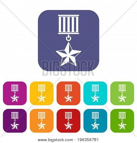 Medal star icons set vector illustration in flat style in colors red, blue, green, and other