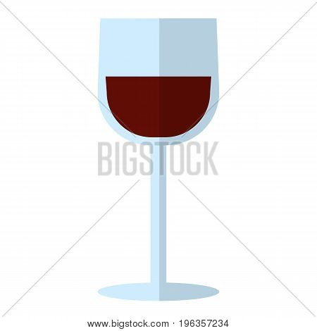 Glass of red dry wine flat icon, vector sign, colorful pictogram isolated on white. Alcoholic drink symbol, logo illustration. Flat style design