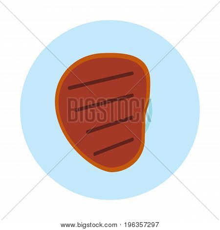 Meat steak flat icon, vector sign, colorful pictogram isolated on white. Meat food symbol, logo illustration. Flat style design