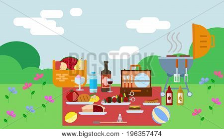 Summer picnic in park on the meadow vector illustration. National Picnic Day concept. Flat style design of picnic items. Colorful graphics - fruit, wine, barbecue, grill, watermelon on the grass