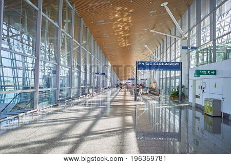 KUALA LUMPUR, MALAYSIA - CIRCA MAY, 2014: inside Kuala Lumpur International Airport. KLIA is Malaysia's main international airport and one of the major airports in South East Asia.