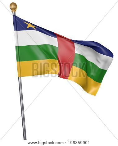 National flag for country of Central African Republic isolated on white background, 3D rendering