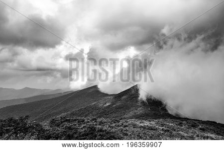 Extreme weather photo of storm clouds from a massive thunderstorm hitting the Blue Ridge Mountains in North Carolina