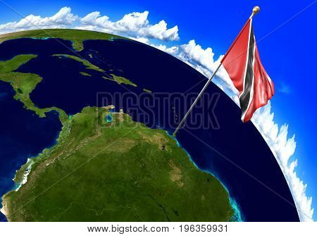 Trinidad and Tobago national flag marking the country location on world map. 3D rendering, parts of this image furnished by NASA